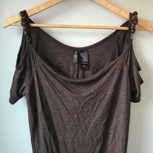 BISOU BISOU Cold Shoulder Top with Beading EUC